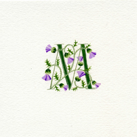 Initial letter M in green with Scots thistles custom letters.