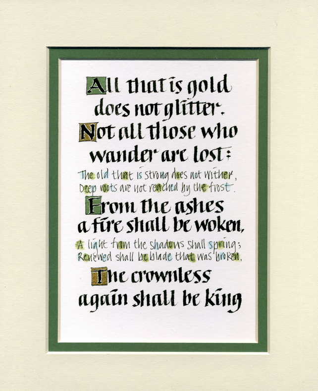 Not all those who wander are lost Lord of the Rings Tolkien print