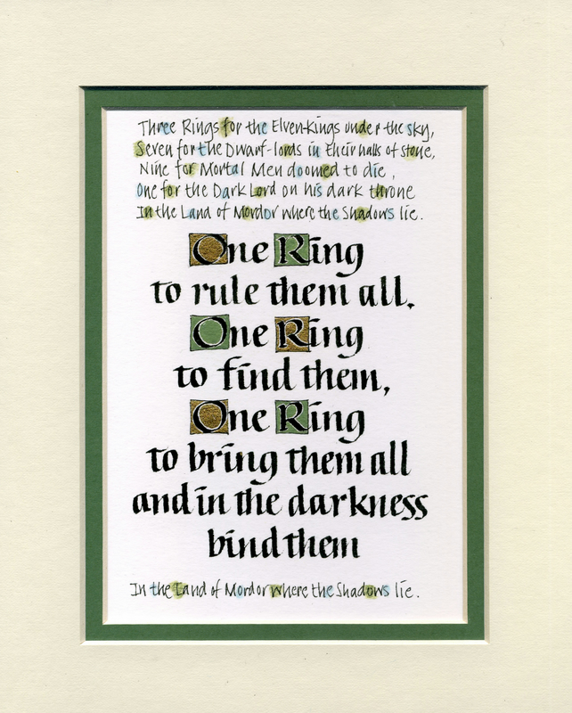 Lord of the Rings One Ring To Rule Them All Tolkein Print