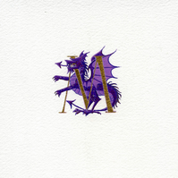 Gold letter painted with a purple and gold dragon.