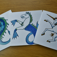 Animal cards, set of three Dolphin, Seahorse Unicorn printed cards