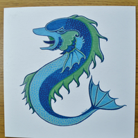 Dolphin greetings card blank printed card heraldry card