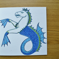Seahorse greetings card blank printed card heraldry card