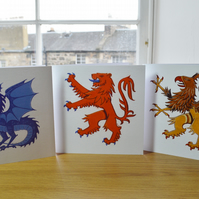 Animal cards, set of three assorted Dragon card Lion card Griffin card