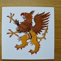 Griffin birthday card printed card unusual card