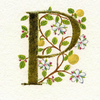 Gold leaf letter 'P' with apple blossom and apples Special Birthday gift Flowers