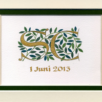 Wedding initials in gold with dark green leaves custom wedding gift