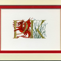 Custom letters in gold leaf with red dragon and snowdrops handmade wedding gift