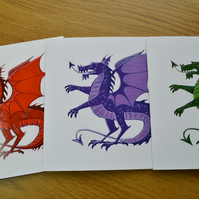 Dragon greetings cards set of three assorted colours blank printed cards
