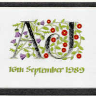 Silver Wedding initials handpainted with thistles and roses