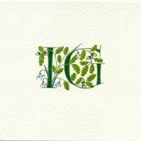 Double initials with oak leaves, acorns and snowdrops Anniversary gift.