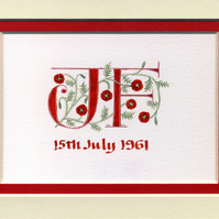 Wedding letters in red with Poppies Ruby Anniversary gift