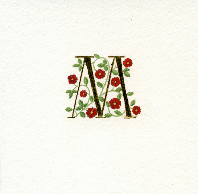 Letter M in 24c gold leaf with red roses handpainted initials.