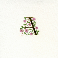 Initial letter A in 23c gold leaf with pink roses handmade Xmas gift.