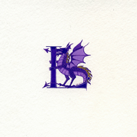 Initial letter L with purple dragon Special Birthday gifts.