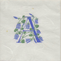 Letter 'A' in turquoise with bluebells.