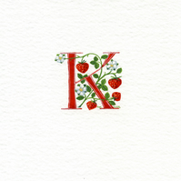 Initial letter 'K' in red with strawberries handmade gifts.