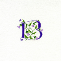 Initial letter 'B' in purple with thistles floral birthday.