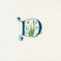 Initial letter D' handpainted in dark green with snowdrops