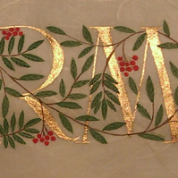 Double initials in gold with Rowan and Laurel leaves Wedding gift