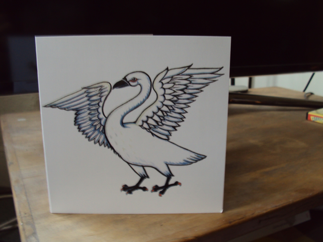Swan birthday card printed bird card