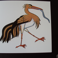 Stork birthday card baby card
