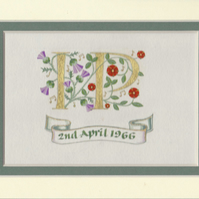 Double initials in gold leaf with Scots thistles, red roses and musical notes