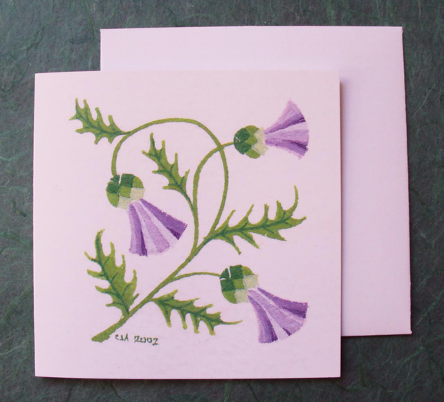 Thistle floral square printed card