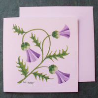 Thistle card printed flower card