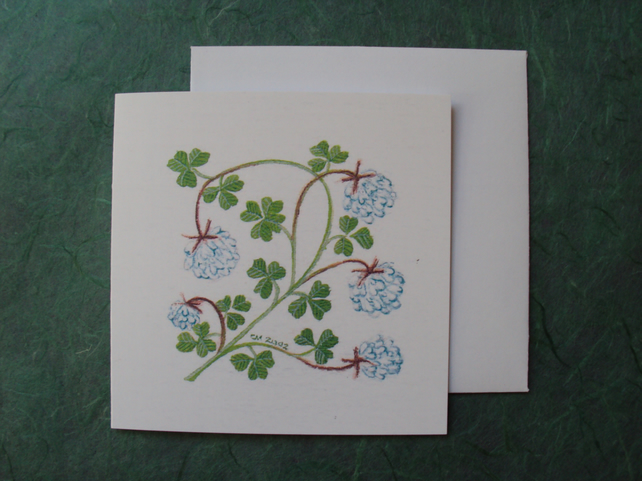 Clover floral square printed card four leaved clover card