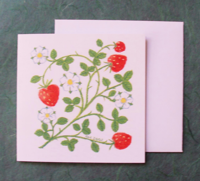 Strawberry flower card printed card