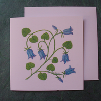 Bluebells floral square printed card