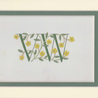 Double initials in green with Primroses Wedding gift