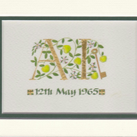 Double initials in gold leaf with Apples and apple blossom Wedding Anniversary