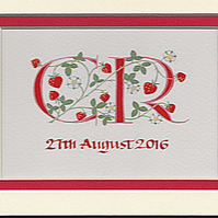 Two initials in red with strawberries wedding anniversary gifts