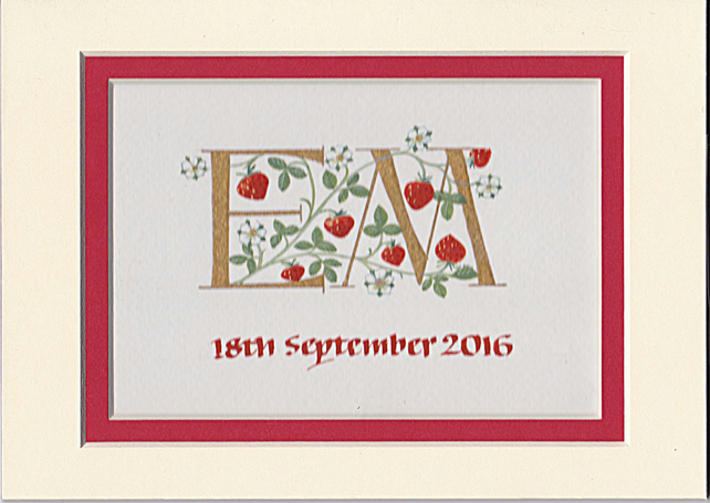 Two initials with strawberries handmade wedding gift anniversary gifts