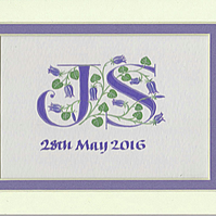 Double initials handpainted in blue with bluebells Wedding gift
