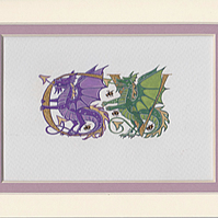 Two gold letters with dragons wedding gift anniversary gift