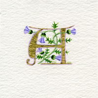 Letter A in 23c gold leaf with Thistles birthday gift.