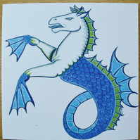 Seahorse greetings card animal cards fish cards