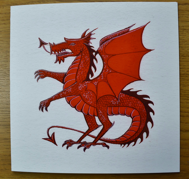 Red Dragon greetings card animal card