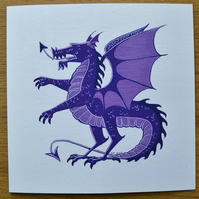 Purple Dragon greetings card animal cards fantasy cards.