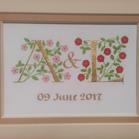 Two gold leaf initials with pink and red roses handmade wedding gift
