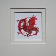 Letter C in red with a red and gold dragon handmade letter gift..