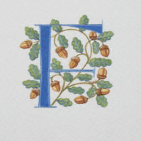 Initial letter with acorns and oak leaves custom letter