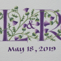 Two letters in purple with Thistles handmade wedding gift.