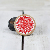 Hand drawn round wooden red flower brooch