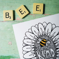 Bee Kind A4 or A5 illustration digital art print