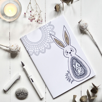 bunny love A5 notebook sketchbook or journal