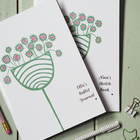 personalised botanical handmade notebook sketchbook journal